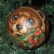 Сувениры и подарки handmade. Livemaster - original item brother bear - ball tumbler musical painting on wood. Handmade.
