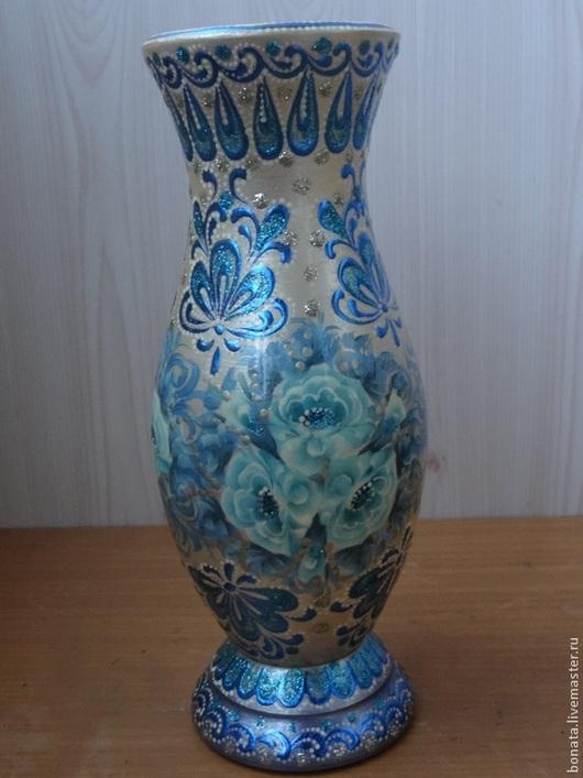 """Вазы ручной работы. Ярмарка Мастеров - ручная работа. Купить Ваза """" Гжель"""". Handmade. Голубой, ваза декоративная, ваза"""
