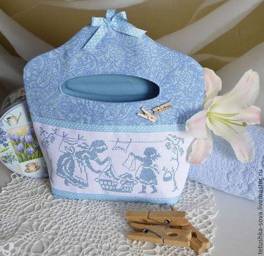 Ванная комната ручной работы. Ярмарка Мастеров - ручная работа. Купить Сумочка для хранения прищепок Голубая. Handmade. Голубой, прищепки