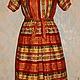 Платье миди ручной работы с орнаментом в русском стиле. Отличный подарок на новый год 2015! Доставка бесплатно!