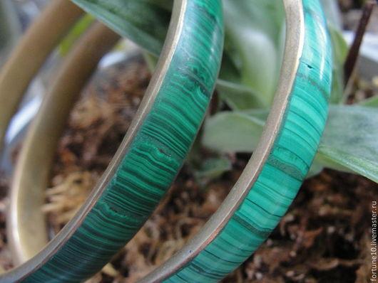 """Браслеты ручной работы. Ярмарка Мастеров - ручная работа. Купить Латунные браслеты """"Aeris"""" с малахитом. Handmade. Зеленый, малахит"""