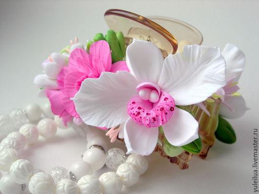 """Заколки ручной работы. Ярмарка Мастеров - ручная работа. Купить Заколка-краб """"ТРОПИКИ"""". Handmade. Белый, тропические цветы"""