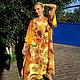 Большие размеры ручной работы. Ярмарка Мастеров - ручная работа. Купить платье- Подсолнухи(Ван Гог). Handmade. Цветочный, ручная роспись