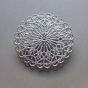 Основа для броши ажурная филигрань под серебро. Диаметр основы 4 см