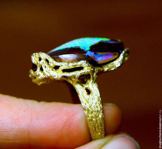 """Кольца ручной работы. Ярмарка Мастеров - ручная работа. Купить Кольцо """"Blue Lagoon"""" с австралийским опалом. Handmade. Бирюзовый"""