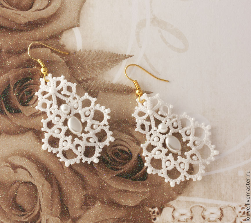 Bridal Earrings Lace Of Frivolite Tenderness The Bride