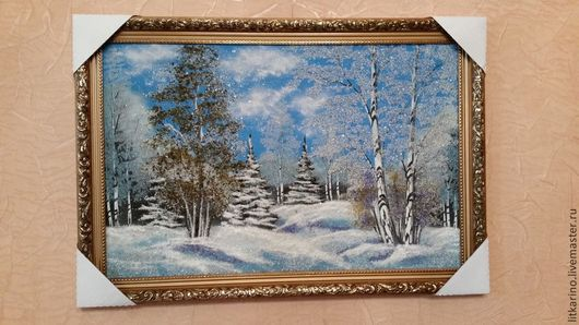 Пейзаж ручной работы. Ярмарка Мастеров - ручная работа. Купить Зима в лесу. Handmade. Бирюзовый, яшма