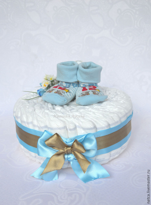 """Подарки для новорожденных, ручной работы. Ярмарка Мастеров - ручная работа. Купить Торт из памперсов """"Baby"""". Handmade. Голубой, торт из подгузников"""