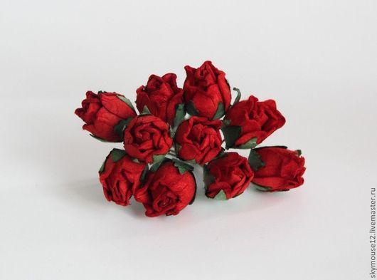 Открытки и скрапбукинг ручной работы. Ярмарка Мастеров - ручная работа. Купить Роза бутон красная. Handmade. Бордовый, полуоткрытая роза