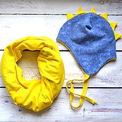 Работы для детей, ручной работы. Ярмарка Мастеров - ручная работа Шапочка+снуд ДРАКОША. Handmade.