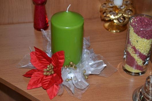Подсвечники ручной работы. Ярмарка Мастеров - ручная работа. Купить Свеча новогодняя.. Handmade. Оливковый, Свечи, подарок, праздничное украшение