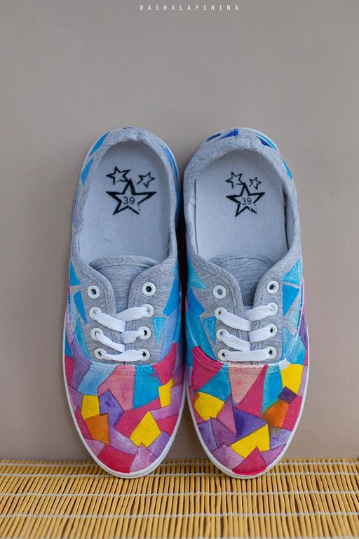"""Обувь ручной работы. Ярмарка Мастеров - ручная работа. Купить Кеды с росписью """"Рассвет"""". Handmade. Разноцветный, ручная роспись, рассвет"""