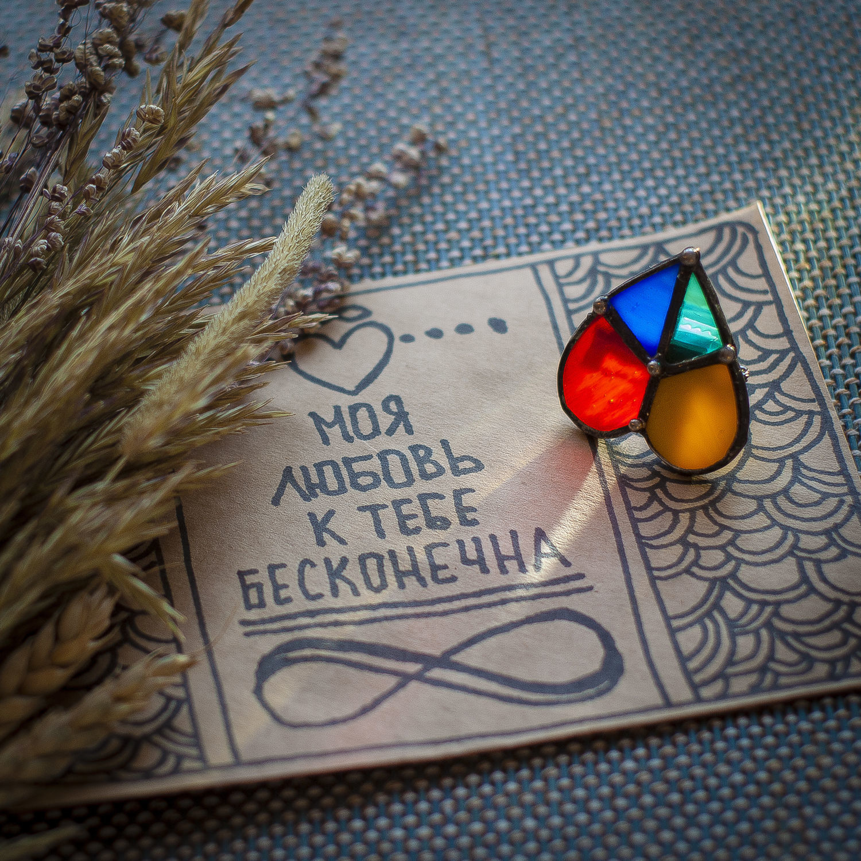 Hippie heart brooch (bro-001-01), Brooches, St. Petersburg,  Фото №1