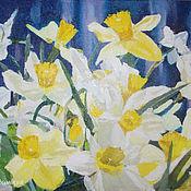 """Картины ручной работы. Ярмарка Мастеров - ручная работа Картина маслом букет цветы  """"Нарциссы"""". Handmade."""
