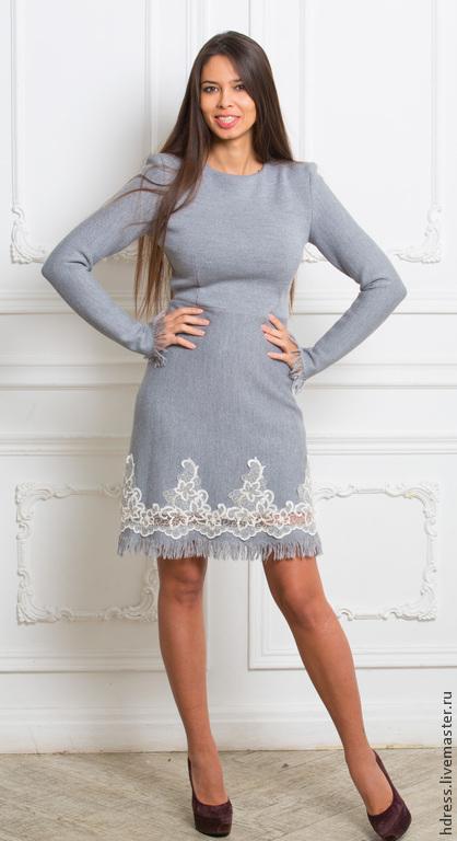 Платья ручной работы. Ярмарка Мастеров - ручная работа. Купить Супер Цена! Платье из трикотажа с кружевом. Handmade. Серый