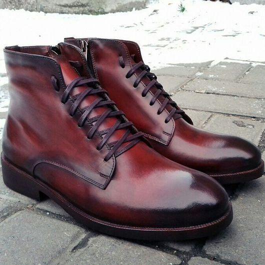 Обувь ручной работы. Ярмарка Мастеров - ручная работа. Купить Мужские ботинки F59. Handmade. Кожа, ботинки на заказ, классика