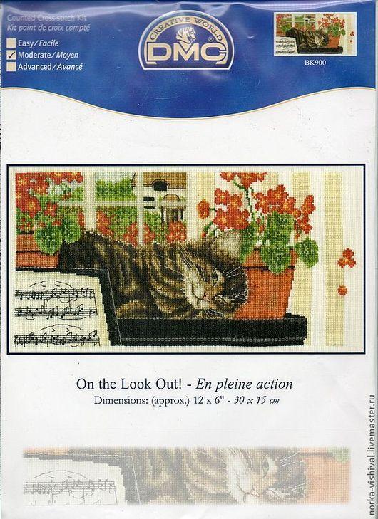 """Вышивка ручной работы. Ярмарка Мастеров - ручная работа. Купить Набор для вышивания ДМС """"Спящий котенок"""" (On the Look Out!). Handmade."""