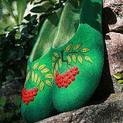 """Обувь ручной работы. Ярмарка Мастеров - ручная работа Тапочки ручной работы женские валяные """"гроздь Рябины """". Handmade."""