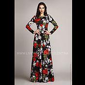 Одежда ручной работы. Ярмарка Мастеров - ручная работа Длинное платье, черное нарядное платье вечернее цветочное платье в пол. Handmade.