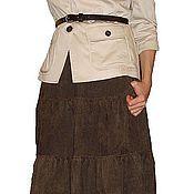 Одежда ручной работы. Ярмарка Мастеров - ручная работа Юбка длинная вельветовая ярусами. Handmade.