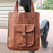 Сумки и аксессуары ручной работы. Ярмарка Мастеров - ручная работа сумка кожаная женская ручной работы с большим карманом. Handmade.
