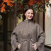 Одежда ручной работы. Ярмарка Мастеров - ручная работа Куртка-пончо - пальтовая ткань, на подкладке - серый меланж. Handmade.