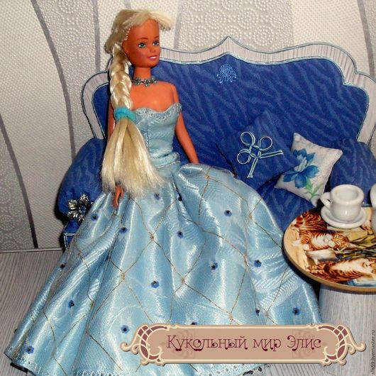 Одежда для кукол ручной работы. Ярмарка Мастеров - ручная работа. Купить Кукольная одежда 1/6 - Платье бальное голубое (размера Барби). Handmade.