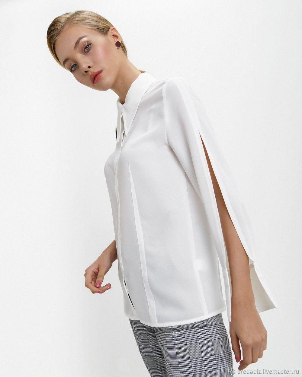 559ac5d08a5 Блузки ручной работы. Ярмарка Мастеров - ручная работа. Купить Блуза-рубашка  белая шелк ...