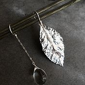 Украшения handmade. Livemaster - original item Earrings with a leaf and a drop - Rainy Forest. Handmade.