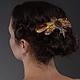 """Заколки ручной работы. Ярмарка Мастеров - ручная работа. Купить Гребень  для волос """"Янтарная бабочка"""". Handmade. Желтый, янтарь, авантюрин"""