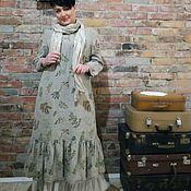 Платья ручной работы. Ярмарка Мастеров - ручная работа Платье из толстого льна с набивным рисунком. Handmade.