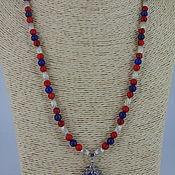 Украшения handmade. Livemaster - original item Necklace with pendant made of lapis lazuli and howlite. Handmade.