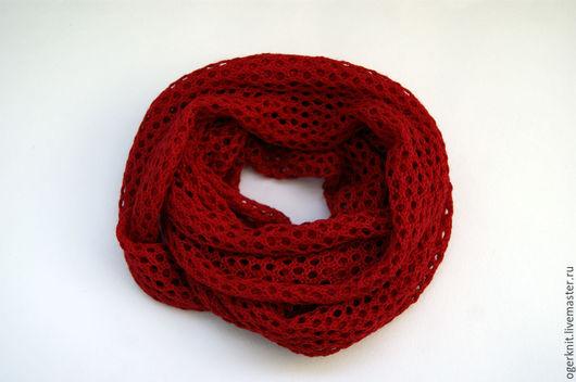 Шарфы и шарфики ручной работы. Ярмарка Мастеров - ручная работа. Купить Ажурный шарф-снуд. Handmade. Ярко-красный