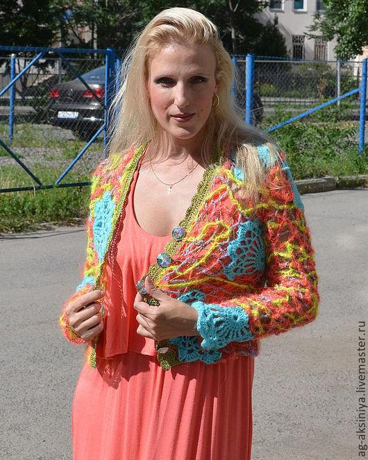 Кофты и свитера ручной работы. Ярмарка Мастеров - ручная работа. Купить Кофта женская вязаная крючком РАДУГА 2. Handmade.
