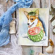 Картины и панно ручной работы. Ярмарка Мастеров - ручная работа Акварель Корги. Handmade.