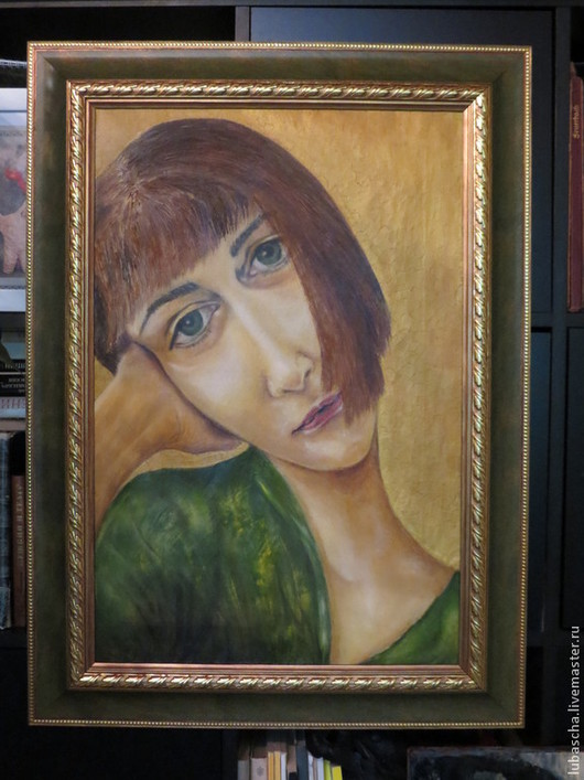 Люди, ручной работы. Ярмарка Мастеров - ручная работа. Купить Девушка в зеленом.. Handmade. Девушка, красный цвет, масло