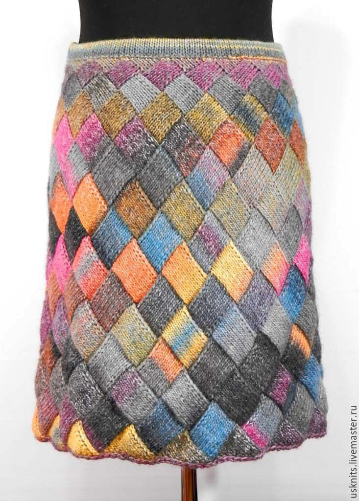 Warm knitted skirt `Squares` made of wool blend yarn. The woven skirt is soft, warm, not very thick. Skirt, flared at bottom, tied by circle - without seams.