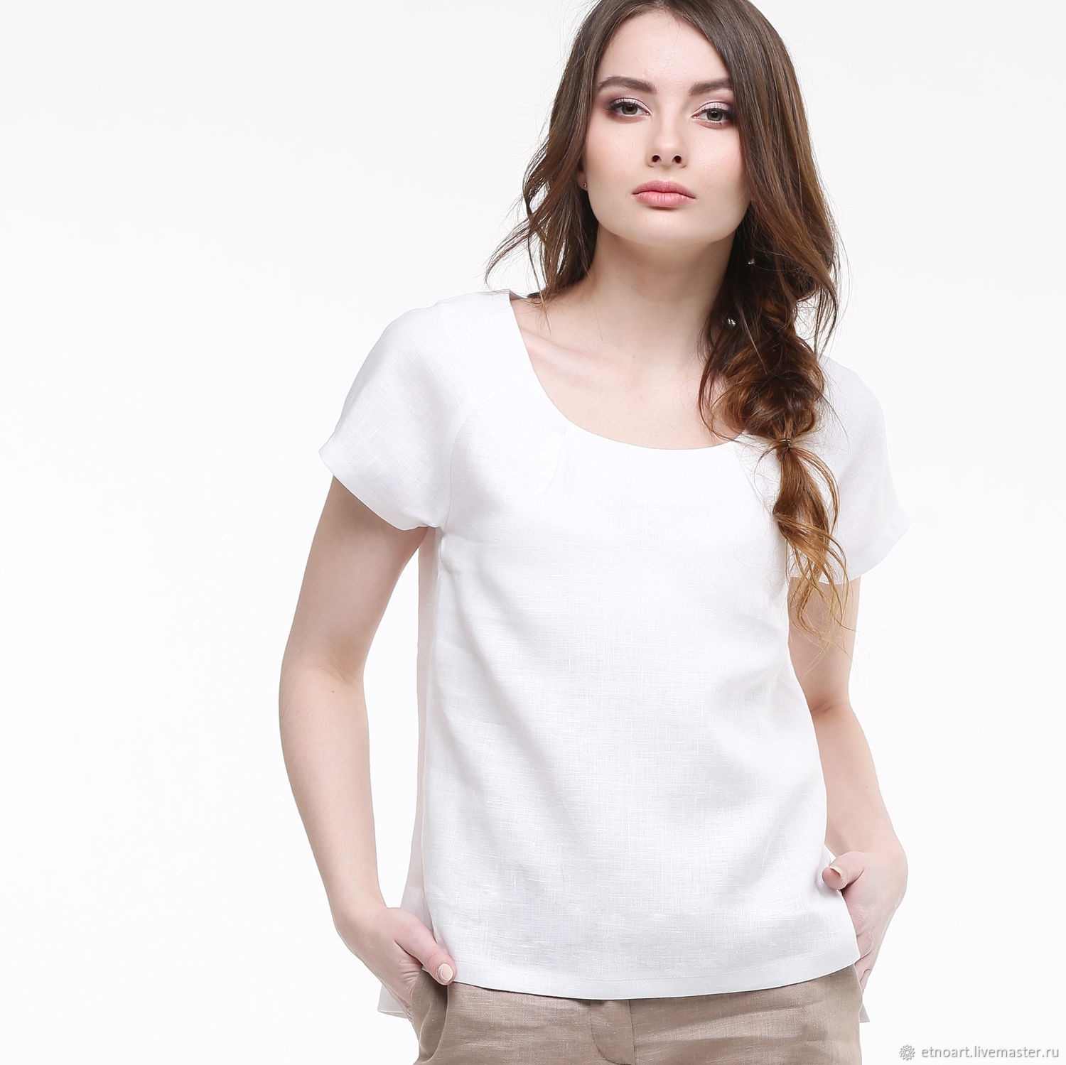 White linen blouse with short sleeves, Blouses, Tomsk,  Фото №1