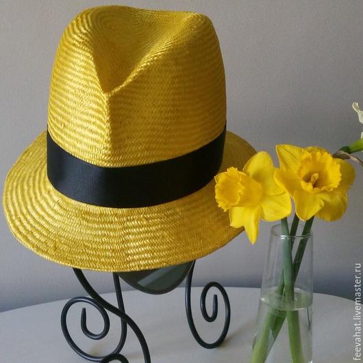 Шляпы ручной работы. Ярмарка Мастеров - ручная работа. Купить соломенная ярко- жёлтая шляпа. Handmade. Желтый, ярко-желтый