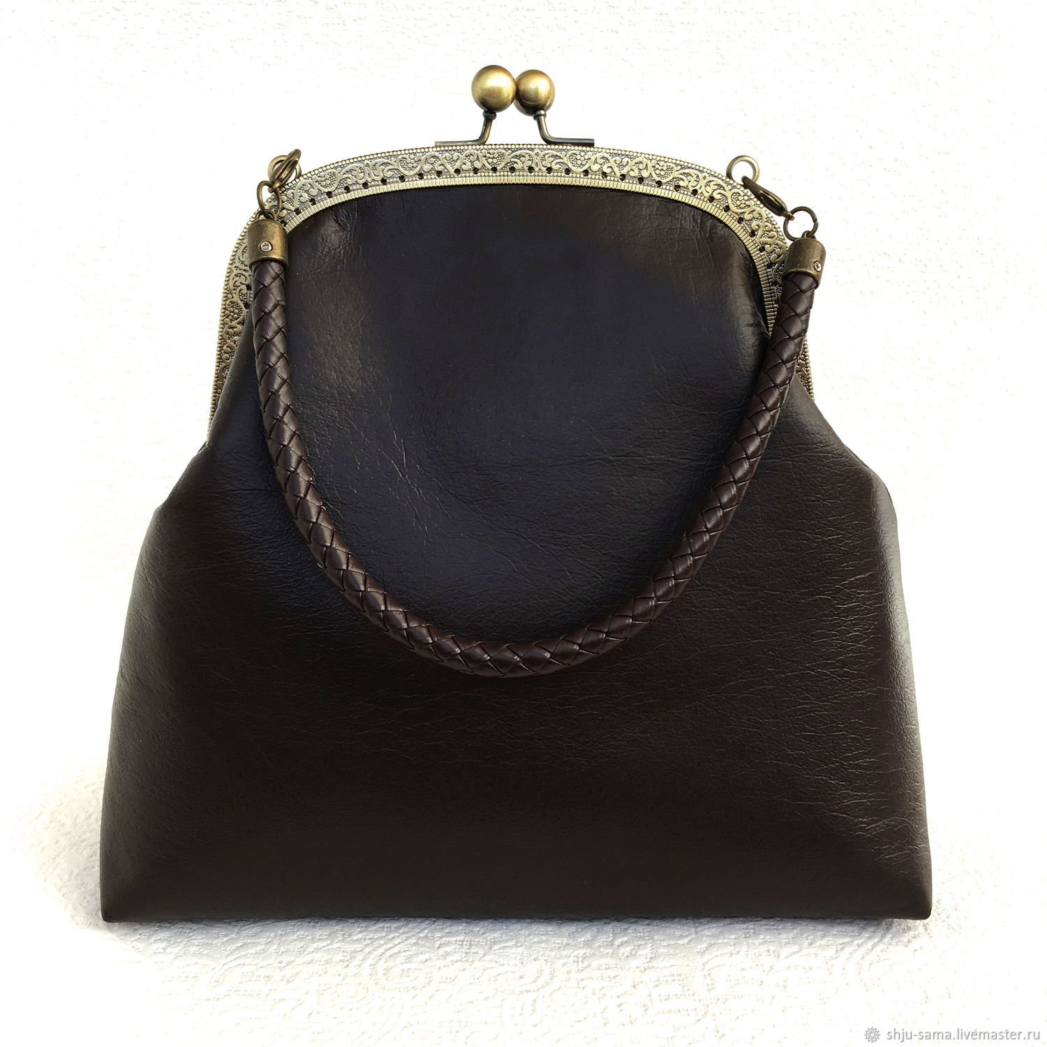 Brown leather bag on the clasp, Clasp Bag, Moscow,  Фото №1