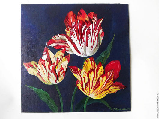 """Картины цветов ручной работы. Ярмарка Мастеров - ручная работа. Купить Картина акрилом  на холсте """"Ambrosius"""". Handmade. Ярко-красный"""