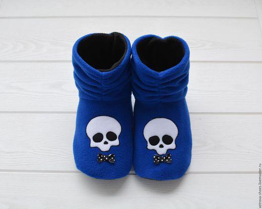 """Обувь ручной работы. Ярмарка Мастеров - ручная работа. Купить Домашние сапожки """"Черепушка"""". Handmade. Тёмно-синий, лазурный"""