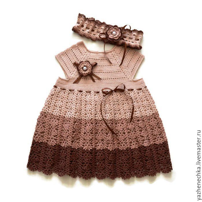 3e3944641963 Dress is crocheted of cotton for girls Three chocolate – shop online ...