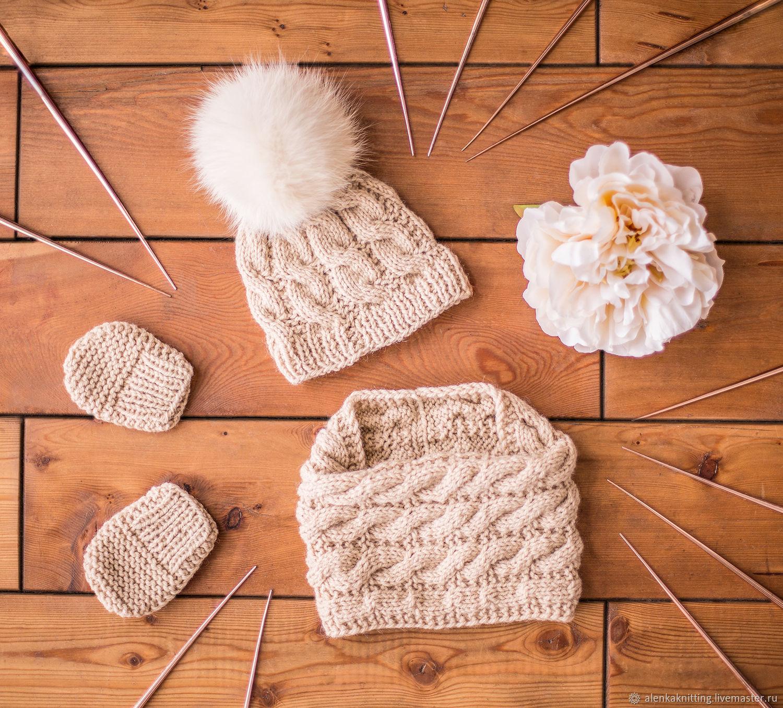 Комплект: шапка с помпоном+снуд+варежки-царапки, Комплекты одежды для малышей, Москва,  Фото №1