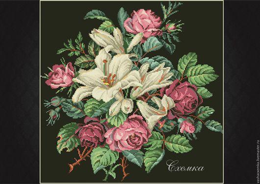 """Вышивка ручной работы. Ярмарка Мастеров - ручная работа. Купить Ретро схема """"Розы и лилии"""" (№11). Handmade. Комбинированный, схемы"""