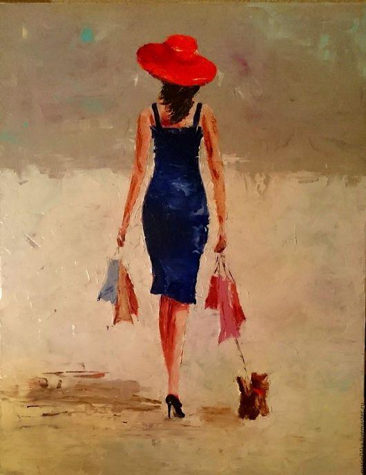 Люди, ручной работы. Ярмарка Мастеров - ручная работа. Купить Дама с собачкой. Handmade. Тёмно-синий, девушка, собачка