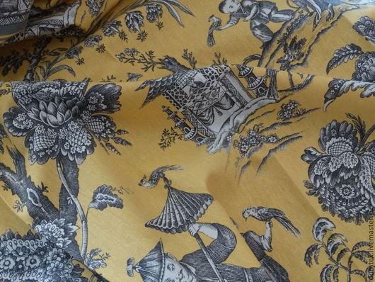 Шитье ручной работы. Ярмарка Мастеров - ручная работа. Купить Ткань портьерная Пагода. Handmade. Желтый, покрывало, ширма