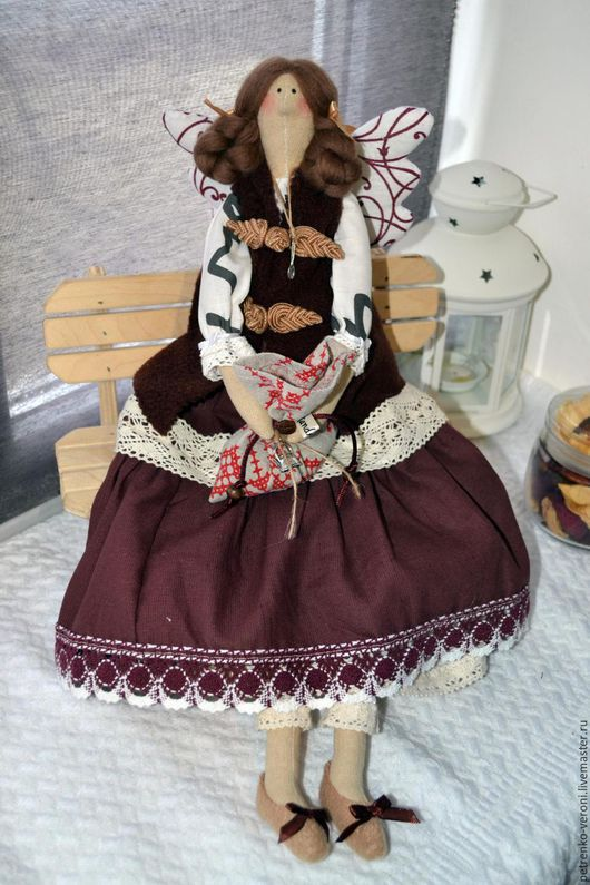 Куклы Тильды ручной работы. Ярмарка Мастеров - ручная работа. Купить Кофейная феечка. Handmade. Коричневый, кружево