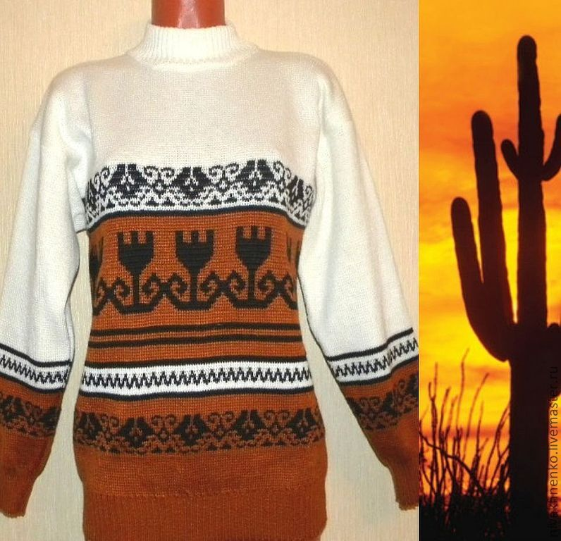 Knitted sweater with ornament in Mexican style, Sweaters, Moscow,  Фото №1