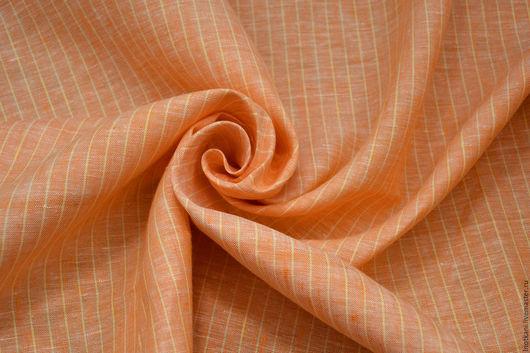 Шитье ручной работы. Ярмарка Мастеров - ручная работа. Купить Лён 100% оранжевый в полоску. Handmade. Оранжевый, лен